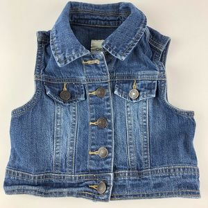Cherokee Denim Vest Button Up Blue Jean Size 4/5